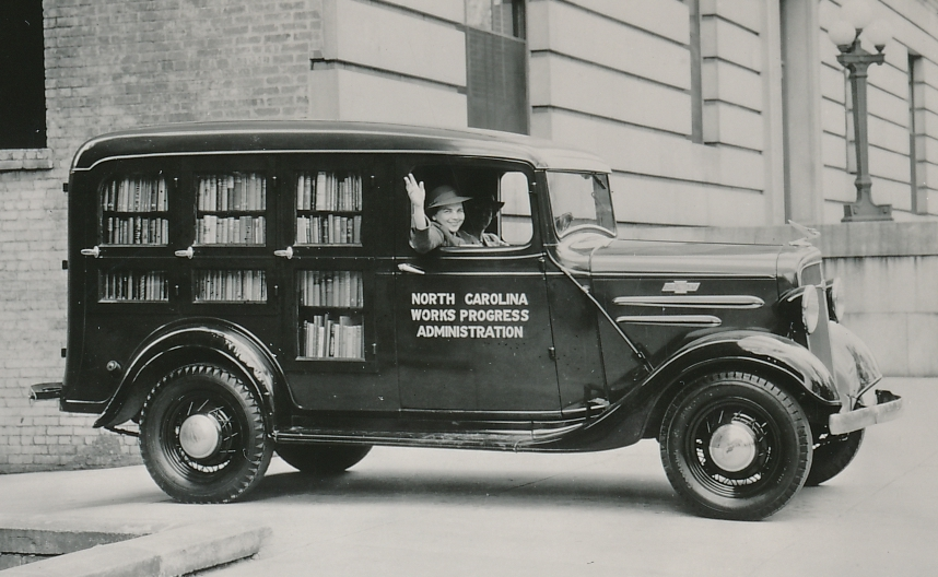 A WPA librarian is glad to deliver books to the citizens of Wake County, North Carolina. Photo courtesy of the National Archives (September 1938).