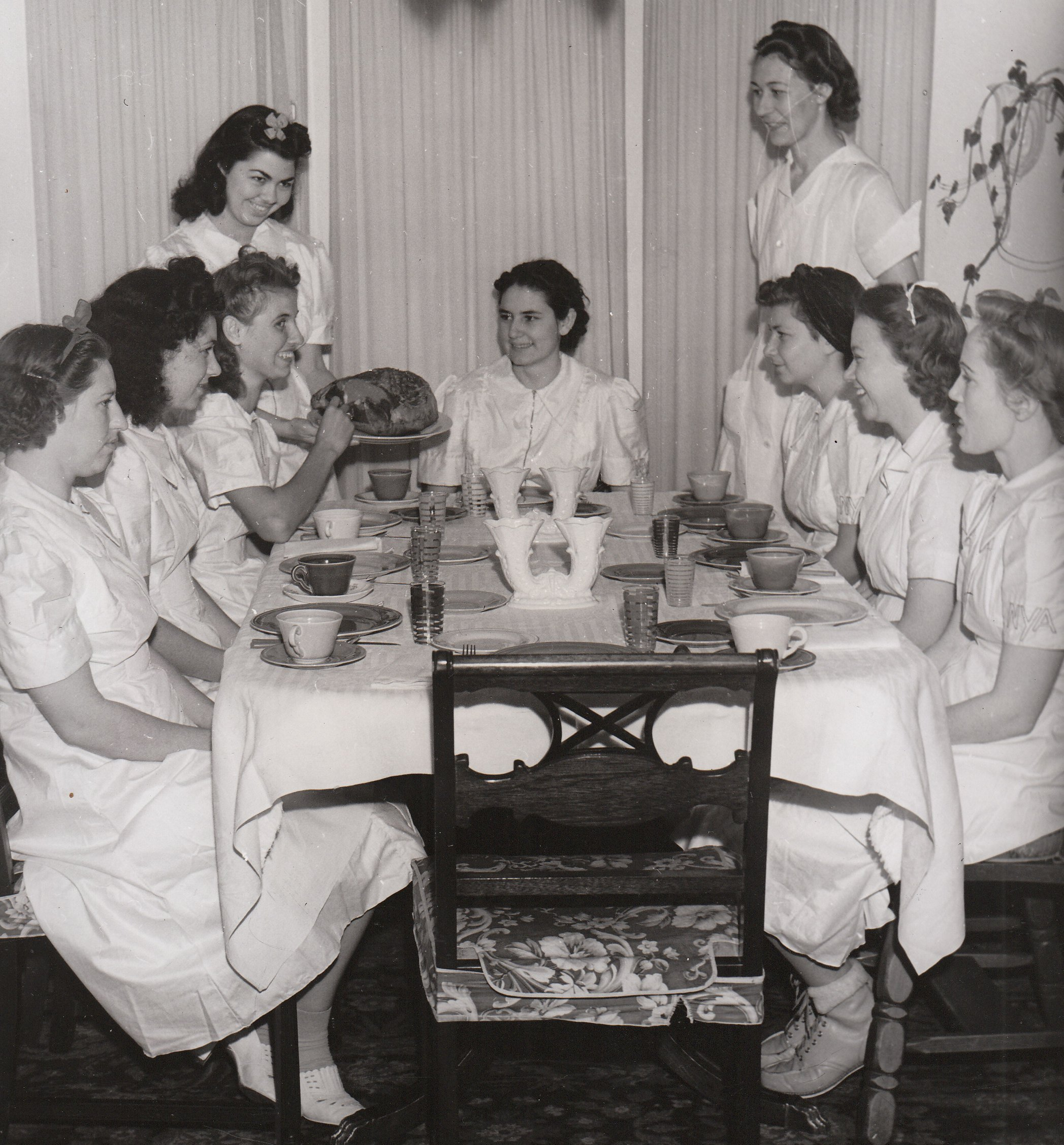 Young women training to be domestic workers in South Gate, California, get ready to enjoy the fruits of their labor. Photo courtesy of the National Archives (ca. 1935-1943).
