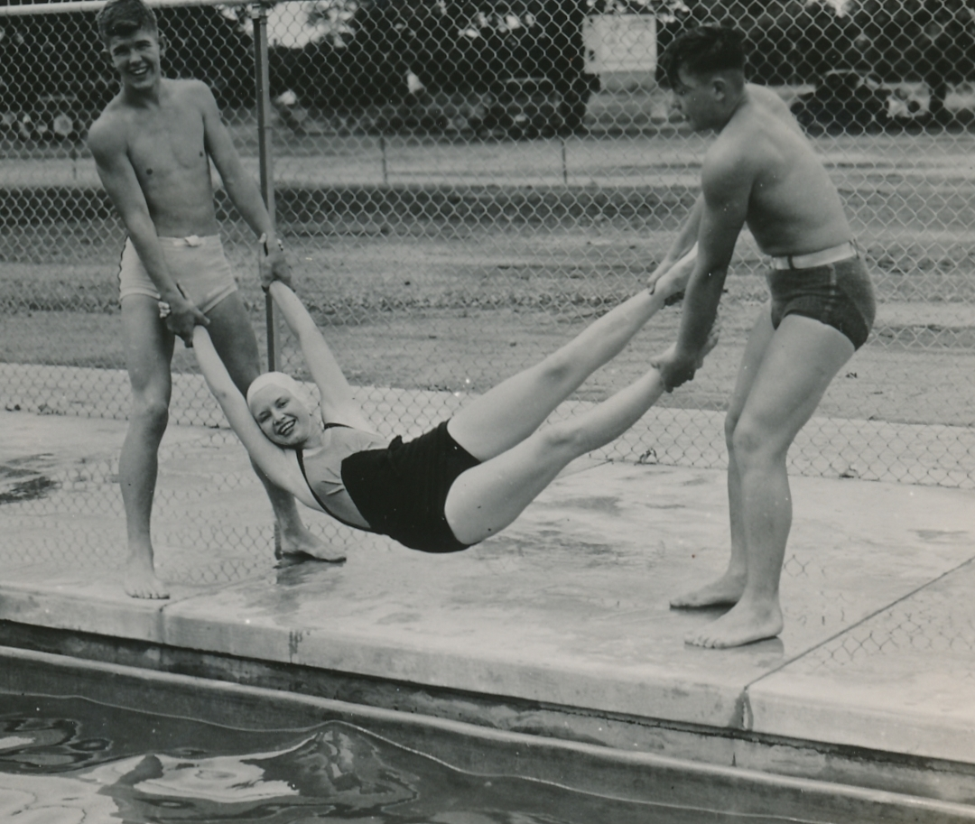 Three young residents of Galion, Ohio enjoy their summer at a WPA-built swimming pool (Photo courtesy of the National Archives (ca. 1937).
