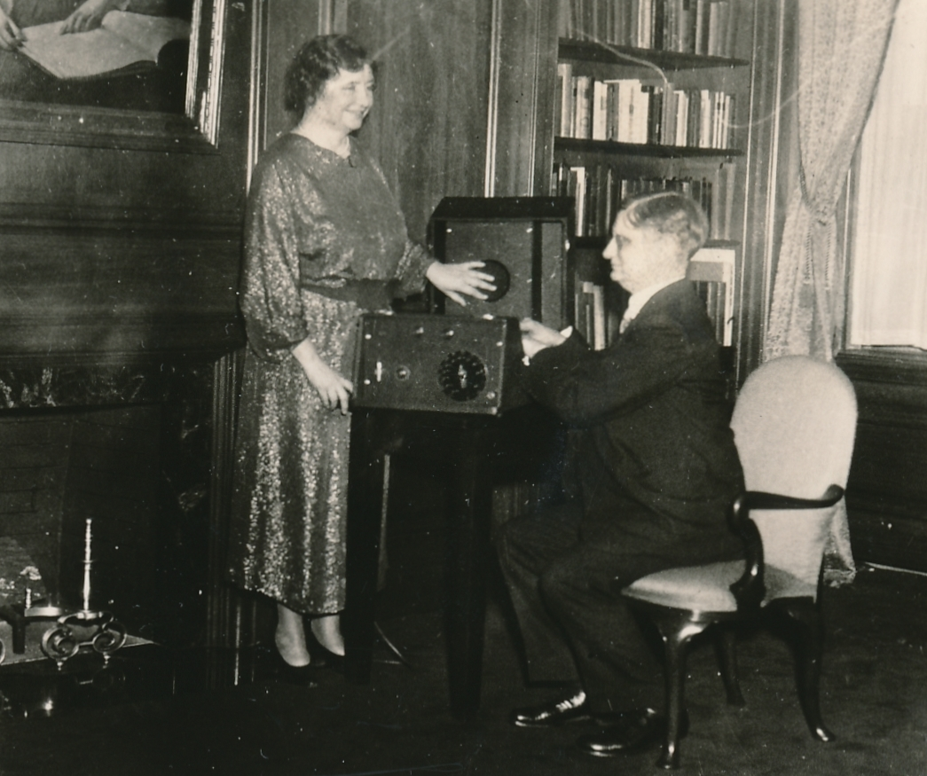 Helen Keller, champion of the blind, appreciates one of the many thousands of talking books made by WPA workers in New York City. Photo courtesy of the National Archives (ca. 1935-1943).