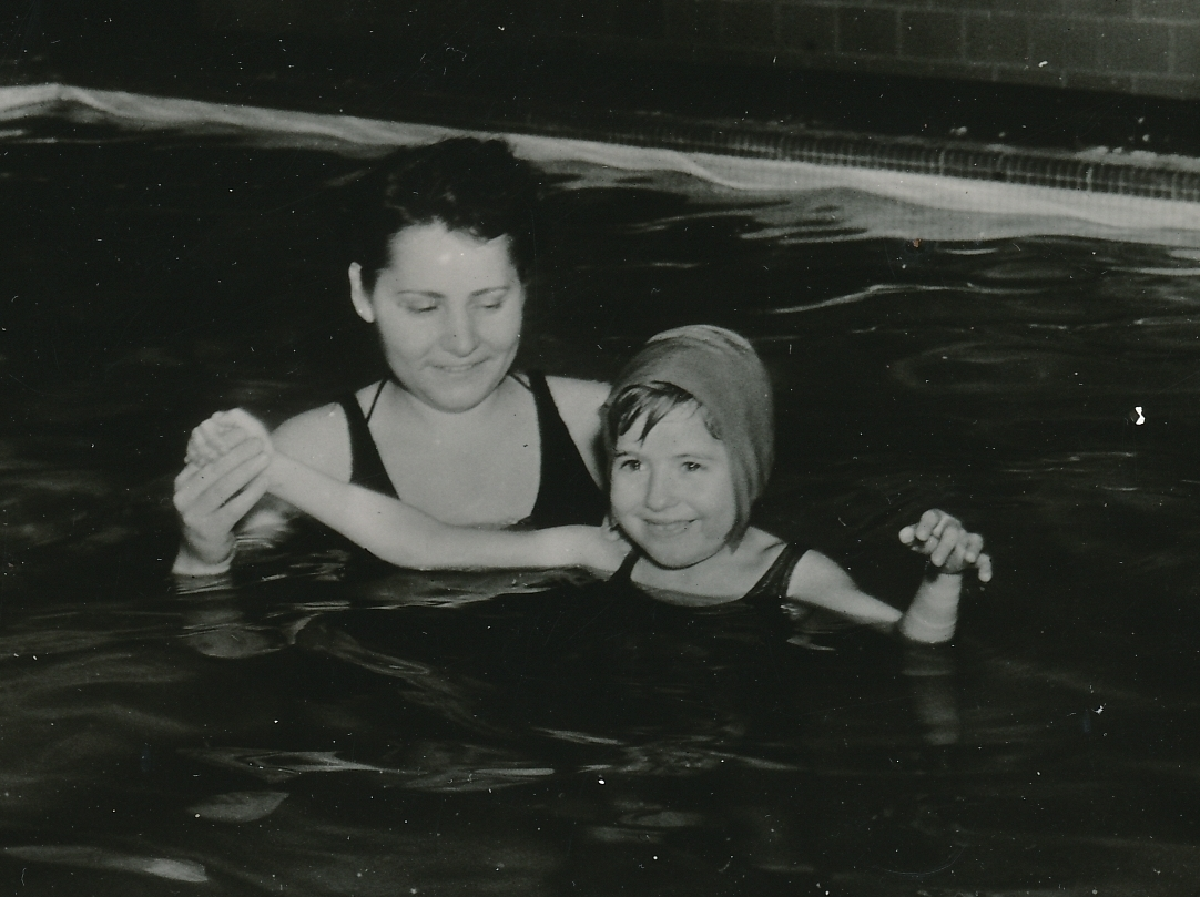 A young girl with infantile paralysis receives treatment in a WPA-built therapy pool at the Gorman School for Crippled Children, Dayton, Ohio. Photo courtesy of the National Archives (ca. 1935-1943).