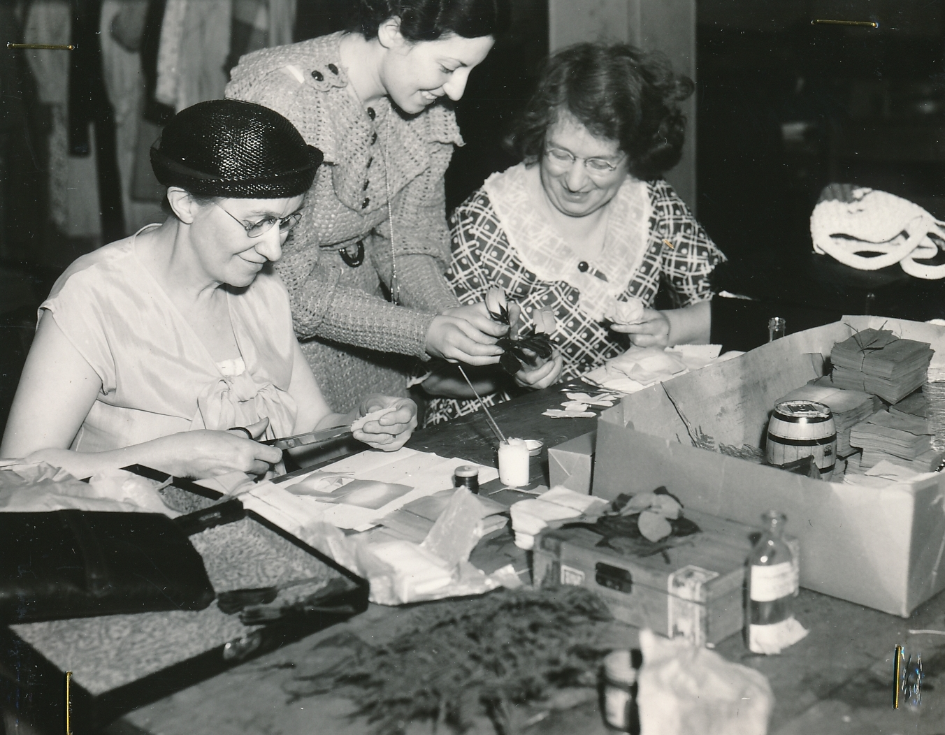 Learning how to make artificial flowers in a WPA handicraft class in Buffalo, New York. Photo courtesy of the National Archives (ca. 1936).