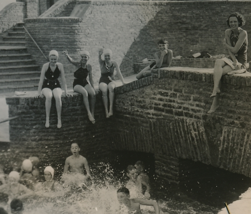 A WPA-built swimming pool brings joy in Columbus Grove, Ohio. Photo courtesy of the National Archives (ca. 1935-1943).