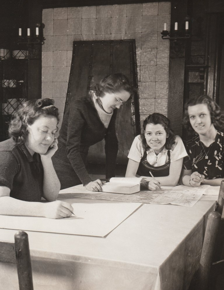 Resident Work Experience Projects, conducted by the National Youth Administration, provide employment and training for young adults who were hungry for jobs, like these young women in Parkersburg, West Virginia. Photo courtesy of the National Archives (ca. 1935-1943).