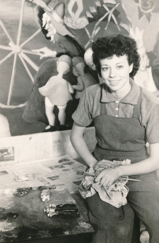 WPA artist Bernice Cross working on a mural for a children's hospital in Prince George's County, Maryland. Photo courtesy of the National Archives (1937).