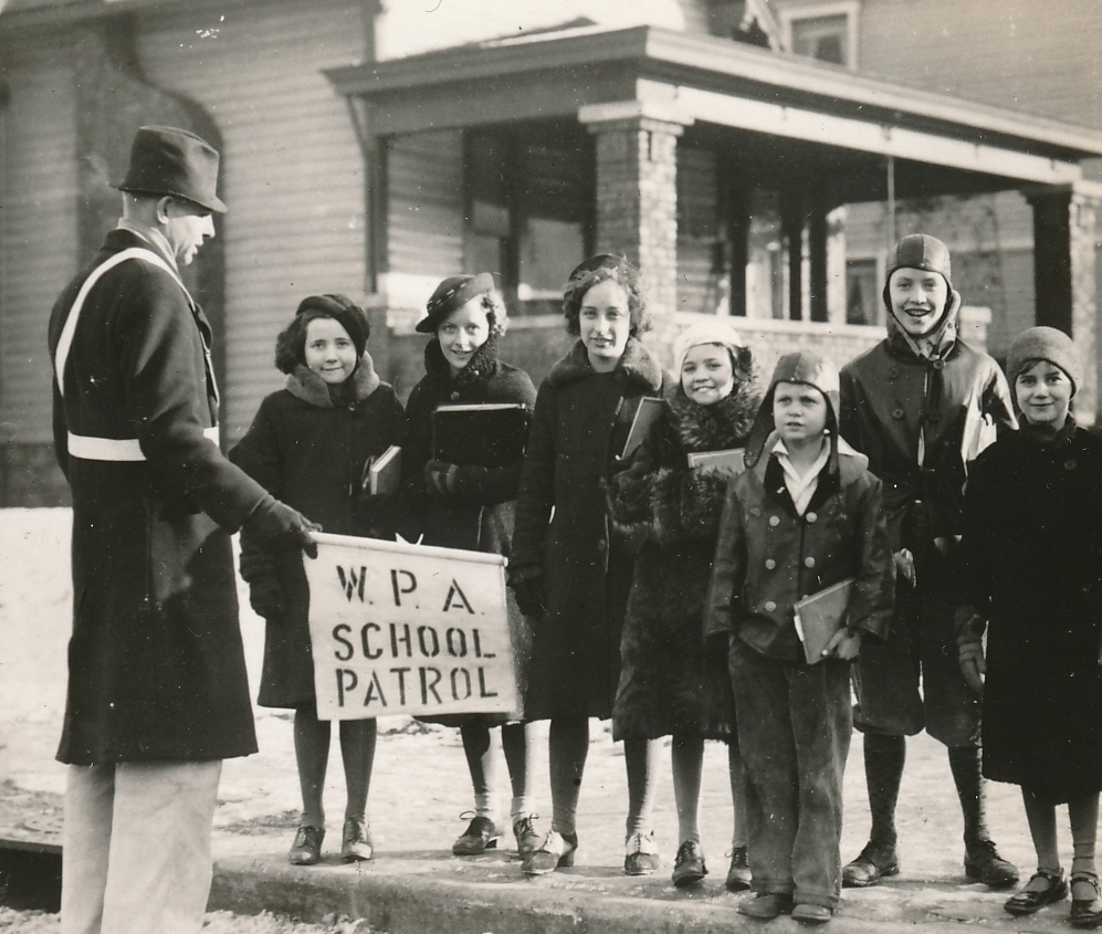 In Indianapolis, Indiana, a safe walk to school is a happy walk to school. Photo courtesy of the National Archives (ca. 1935-1943).