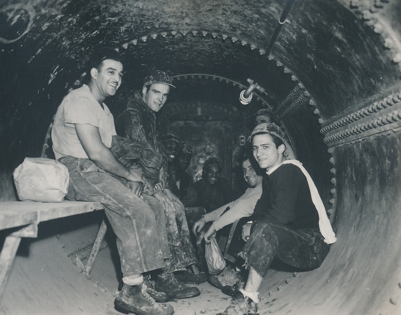 PWA funded good-paying jobs, and good-paying jobs created smiles – it wasn't rocket science. Photo shows a PWA-financed subway project in Chicago. Photo courtesy of the National Archives (June 1940).
