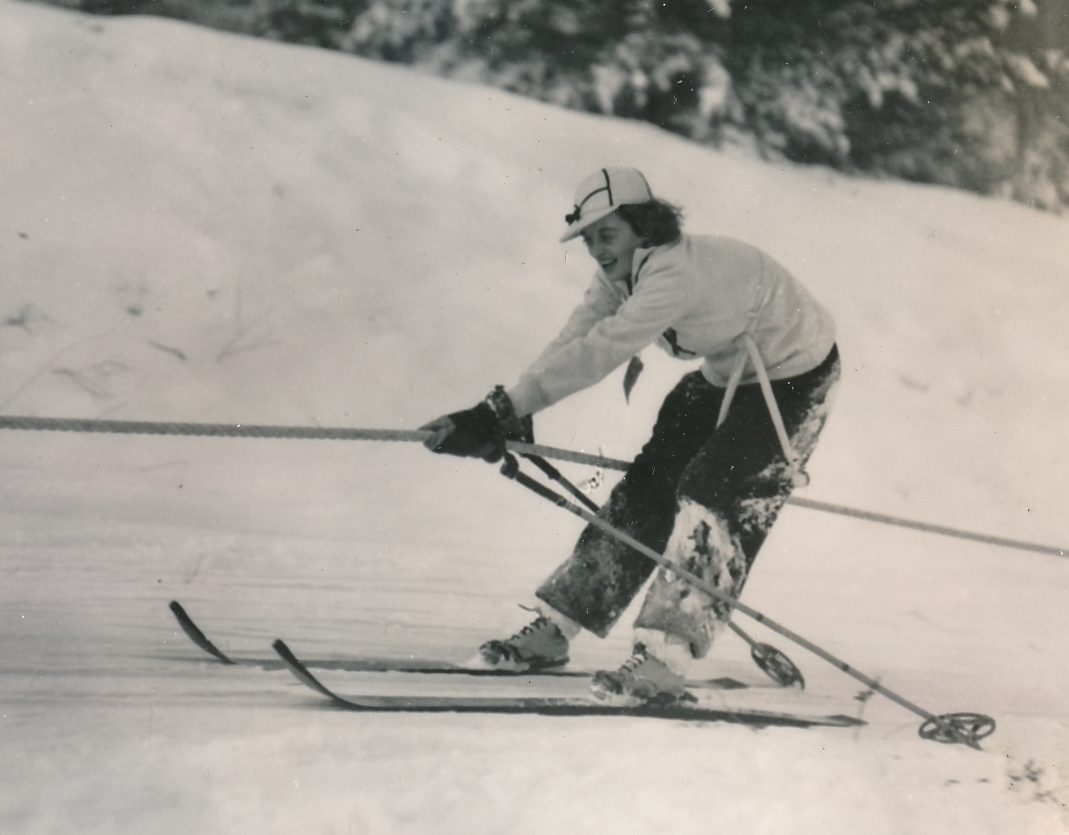 Another happy skier at the WPA-built winter recreation area in Bridgeton, Maine. Photo courtesy of the National Archives (ca. 1935-1943).