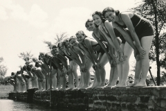 Young women enjoying a WPA-built swimming pool in Jefferson County, Alabama. Photo courtesy of the National Archives (June 1938).
