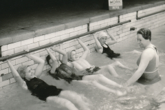 Pool therapy at the infantile paralysis center in Albany, New York, run by the WPA and Red Cross. Photo courtesy of the National Archives (1936).