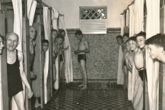 New and clean showers, and plenty of them, bring cheer to this WPA-built swimming pool facility in Monroe, Louisiana. Photo courtesy of the National Archives (ca. 1935-1943).