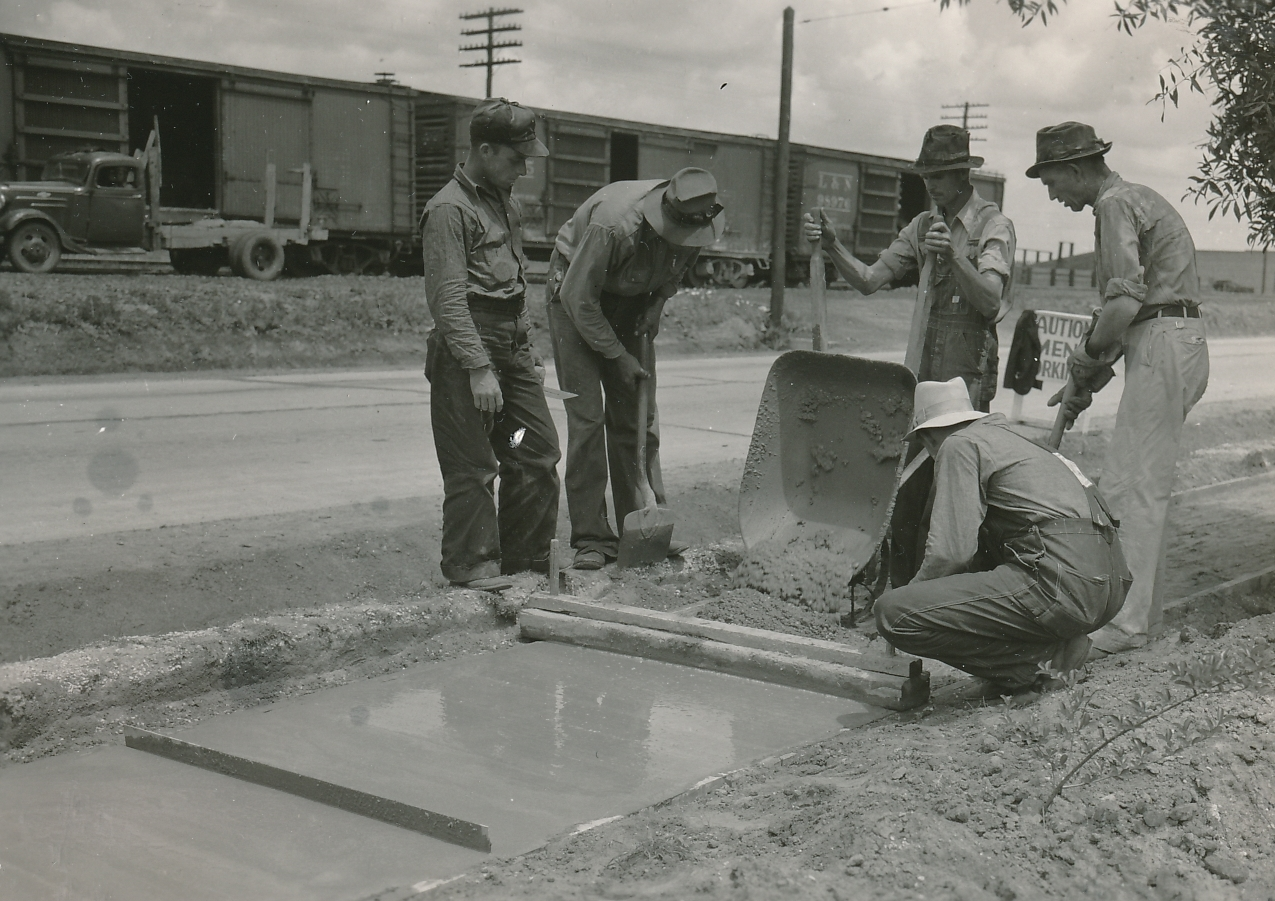 Sidewalk construction in Atmore, Alabama