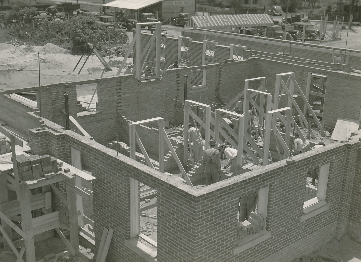 WPA workers construct City Hall annex