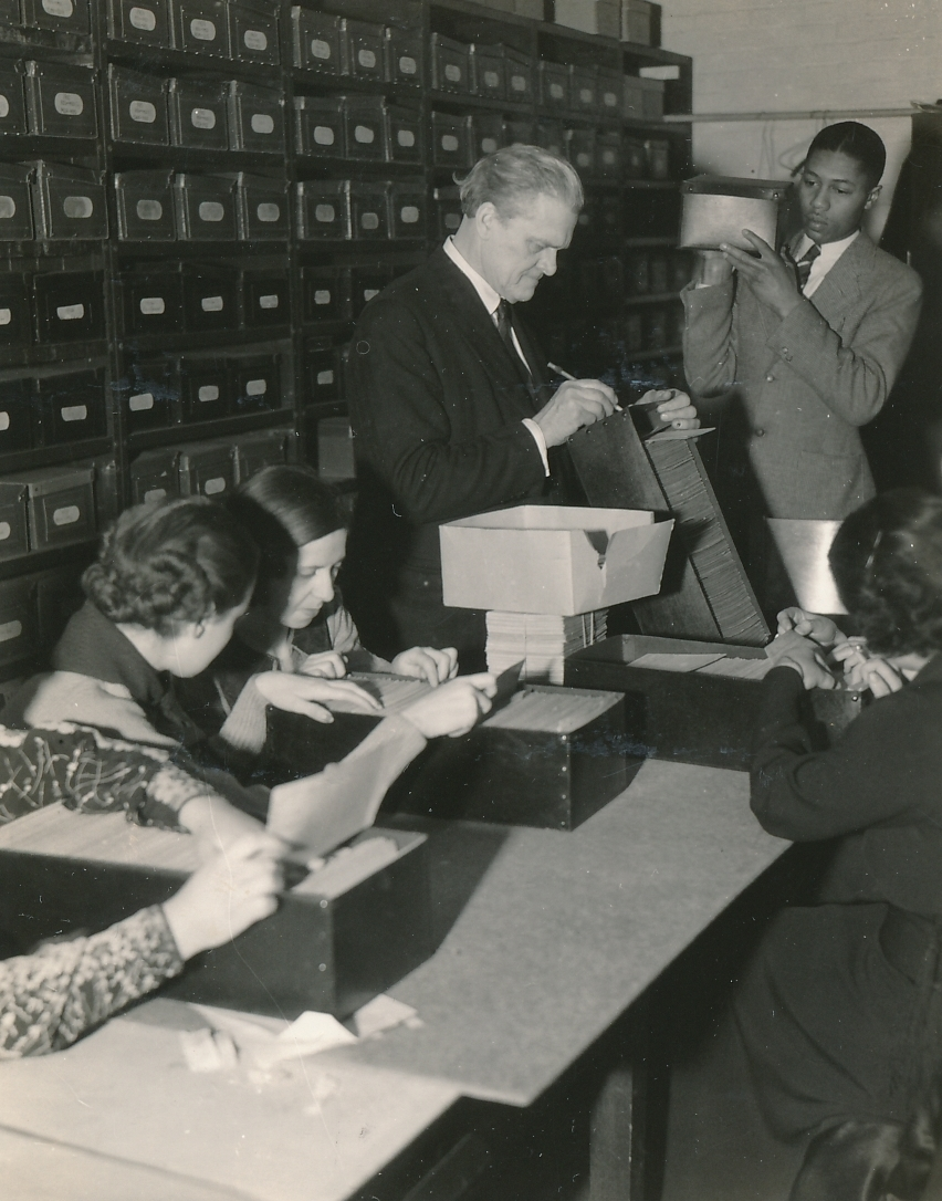 Indexing and preserving public records in the Philadelphia public school system. Photo courtesy of the National Archives (ca. 1936-1938).