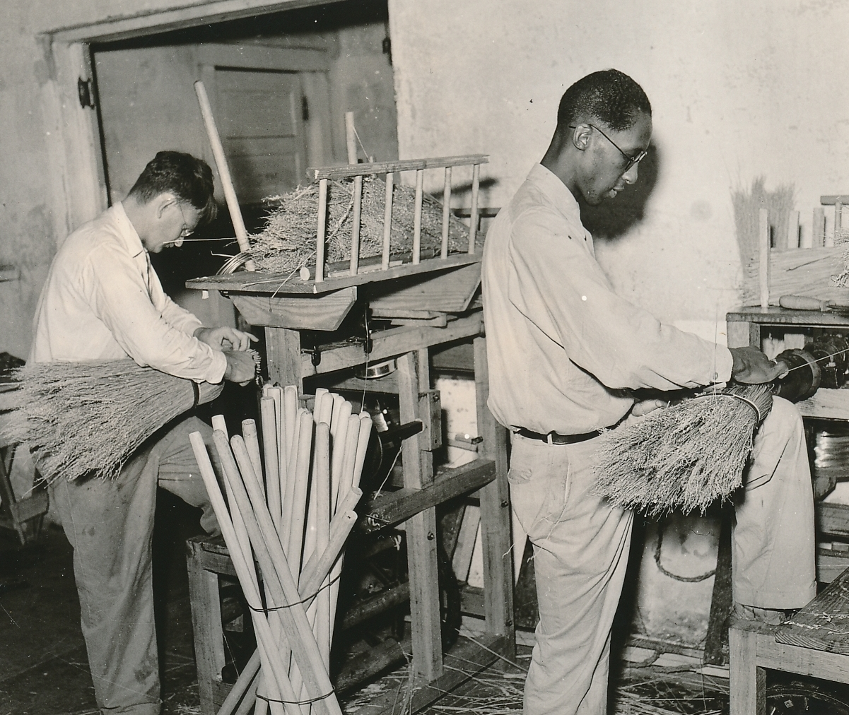 Blind WPA workers making brooms in Houston, Texas. Photo courtesy of the National Archives (1938).