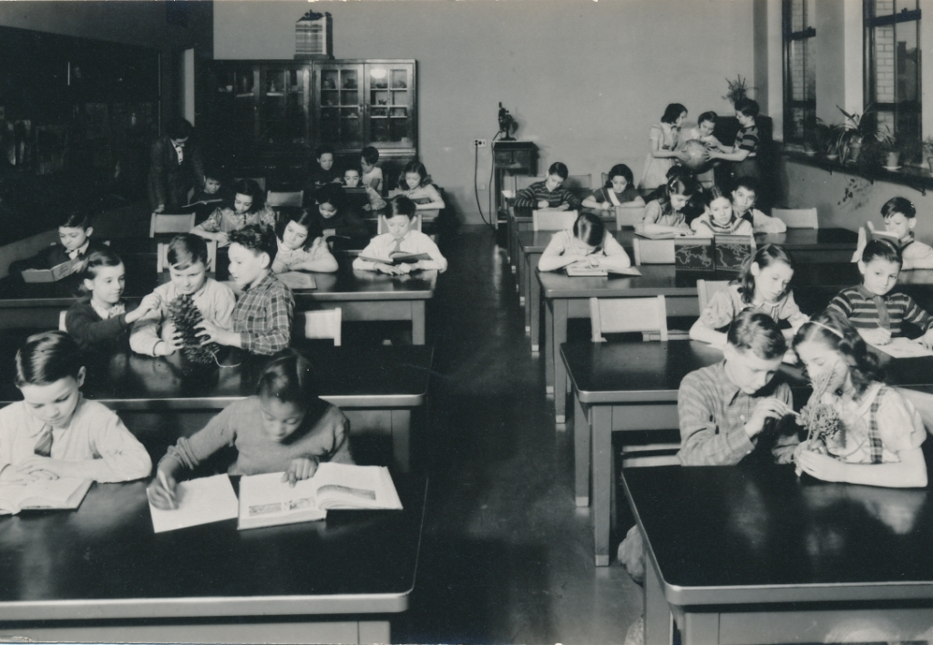 Pittsburgh children learning in a new PWA-funded school. Photo courtesy of the National Archives (ca. 1937-1938).