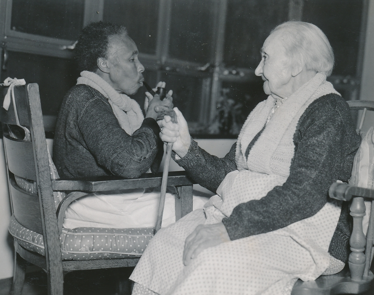 Two elderly residents of the Westchester County Home in Eastview, New York, built or improved by WPA workers. Photo courtesy of the National Archives (ca. 1935-1943).