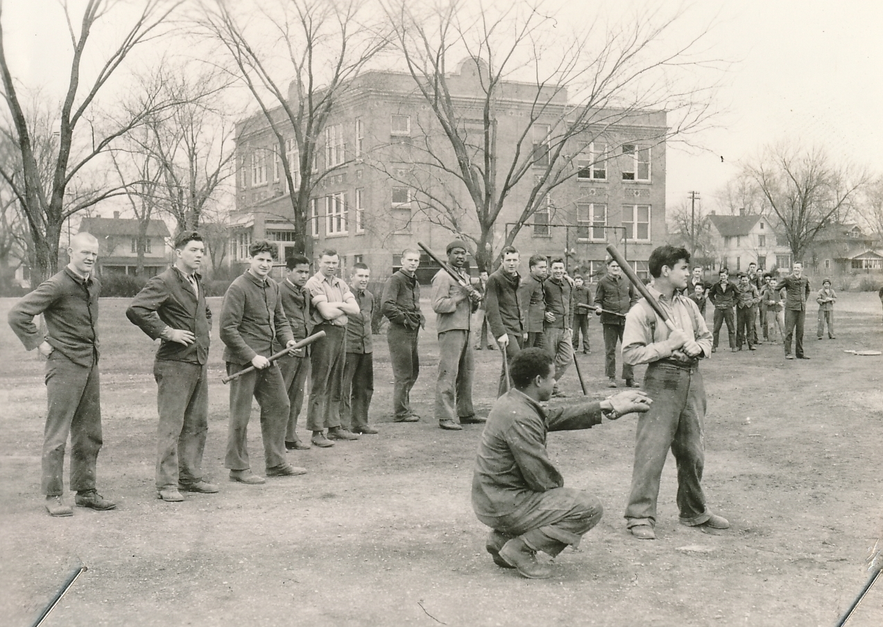 Batting practice in a WPA recreation program at the Waukesha Industrial School in Wisconsin. Photo courtesy of the National Archives (ca. 1935-1943).