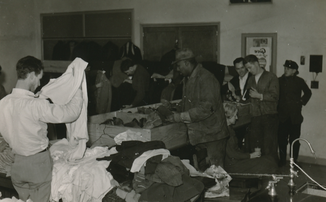 Here, the WPA is distributing clothes to the flood victims in Louisville, Kentucky. Photo courtesy of the National Archives (February 1937).