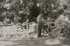 Preparing paving bricks for a WPA project at the U.S. Naval Academy in Annapolis, Maryland, July 6, 1936. Photo courtesy of the University of Maryland College Park Archives.