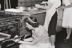 (left to right) NYA workers Thelma Thompson, Mildred Blankenship, and Betty Ishibashi prepare food for the residents of Rancho Los Amigos, in Los Angeles, California, March 26, 1941. Photo courtesy of the National Archives.