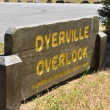 Sign at site of former Dyerville CCC camp - Humboldt Redwoods State Park CA