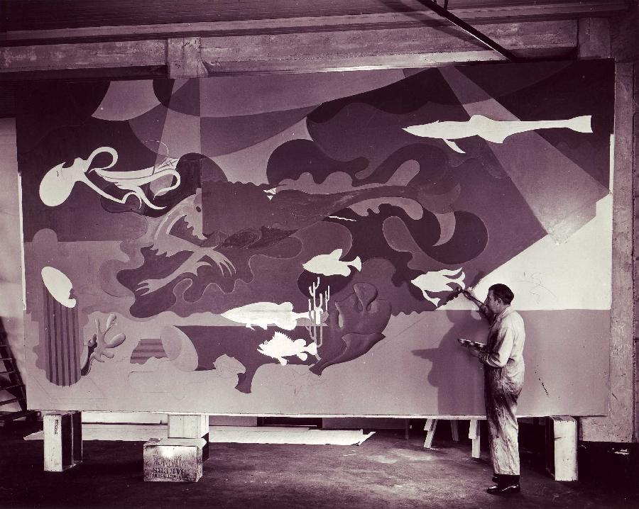 Hilaire Painting Aquatic Park Murals