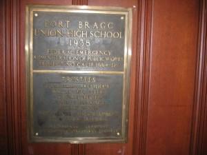 Fort Bragg High School plaque