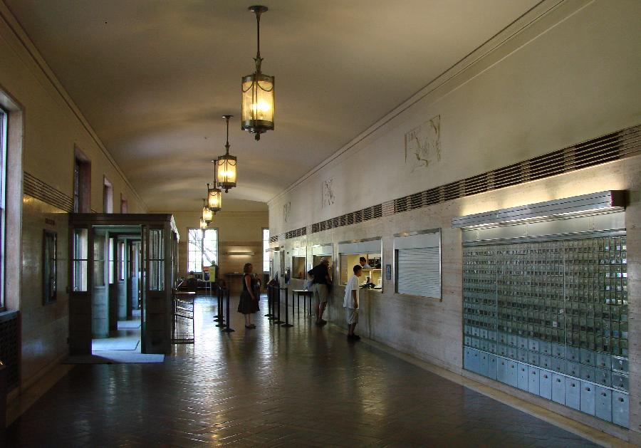 Santa Barbara Post Office Lobby with Reliefs