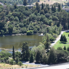 View of Lake Temescal, with dam and play fields on the right - Oakland CA