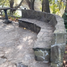 Stone bench and sitting area, Temescal Regional Park - Oakland CA