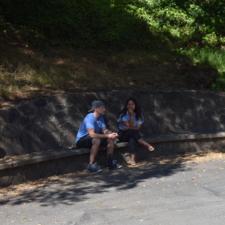 Stone bench on main path, Temescal Regional Park - Oakland CA