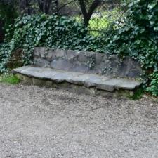 Stone bench along main path,Temescal Regional Park - Oakland CA