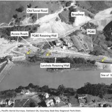 Aerial photo during Landvale Road construction, Lake Temescal - Oakland CA