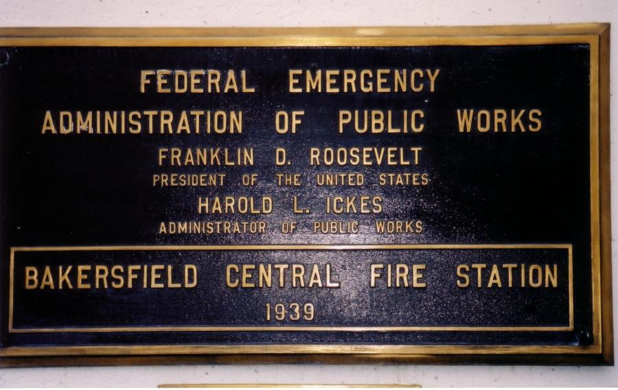 plaque on the Bakersfield Central Fire Station