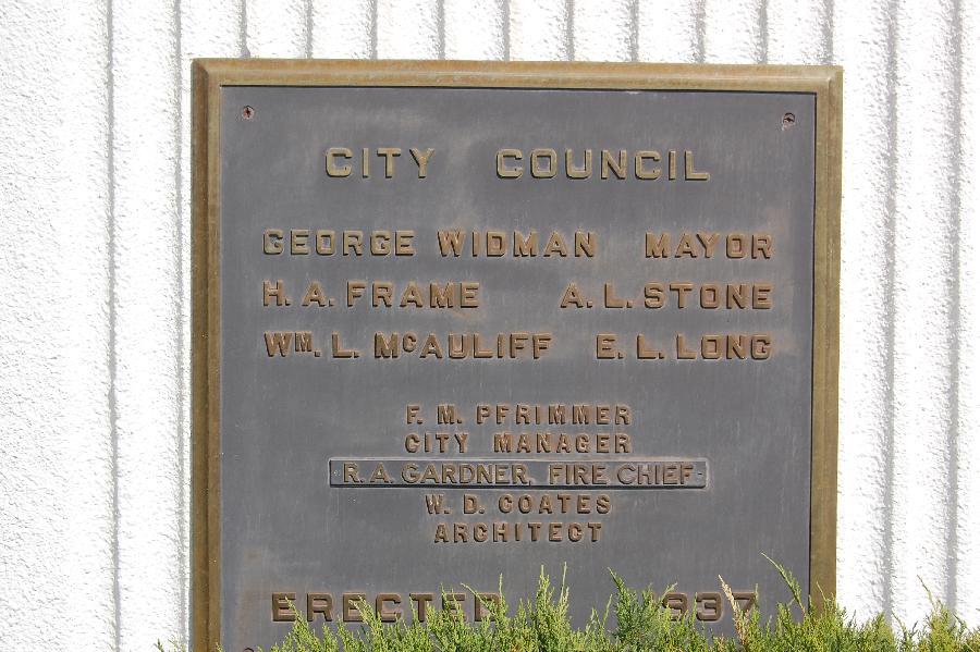 Porterville Fire Department Construction Plaque