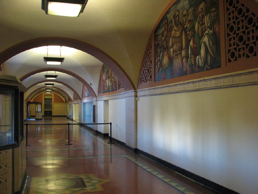 Los Angeles Post Office Hallway with Lunettes