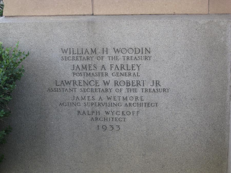 San Jose Post Office, inscription