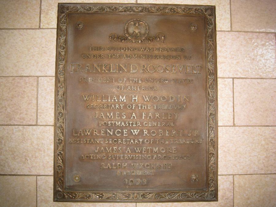 San Jose Post Office, plaque