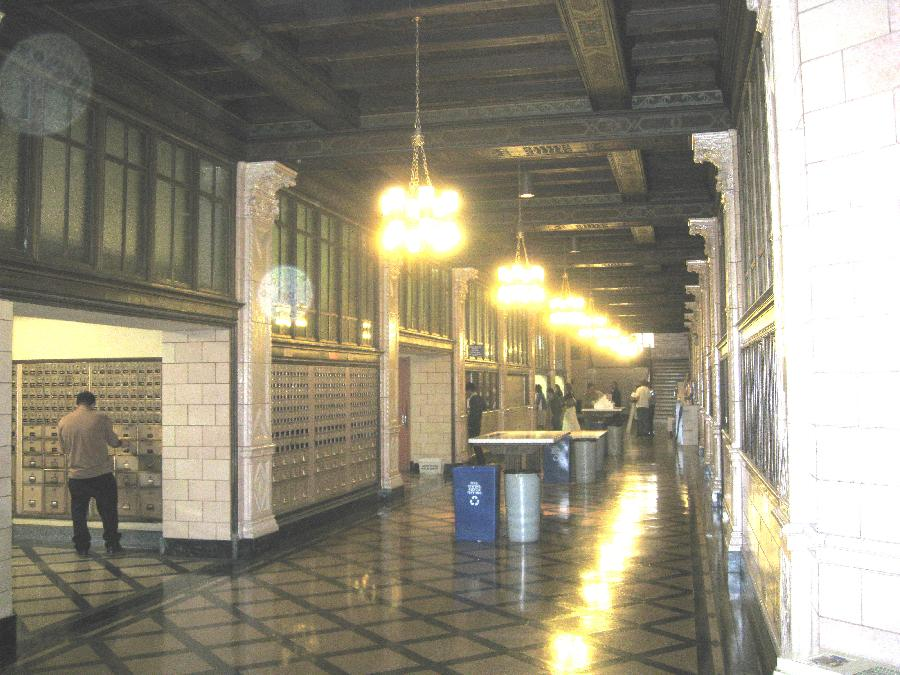 San Jose Post Office, hallway with molding and fixtures