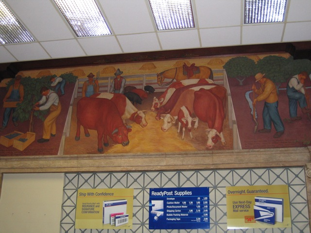Modesto Post Office Mural with Livestock