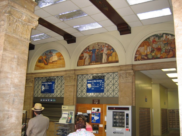 Modesto Post Office Lobby with Murals