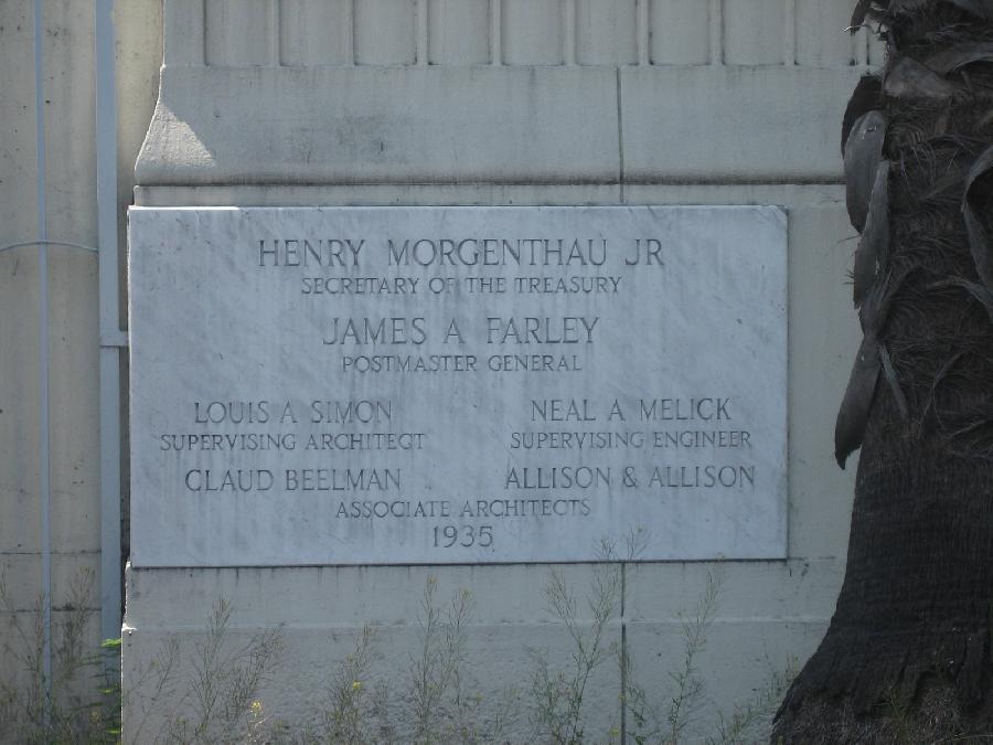 Hollywood Post Office cornerstone