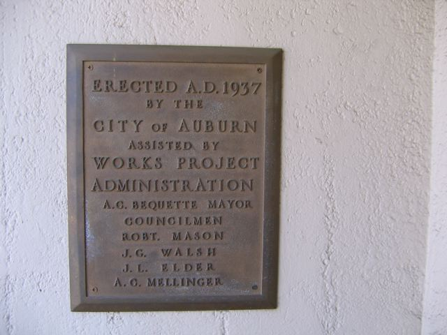 Old Auburn City Hall and Firehouse WPA Plaque