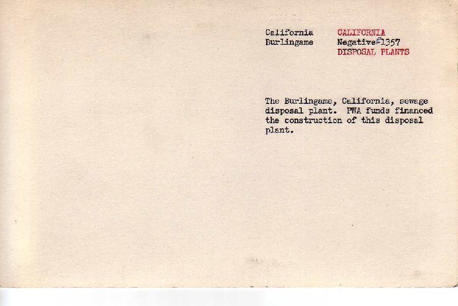 Burlingame Sewage Disposal Plant Archive Photo Information