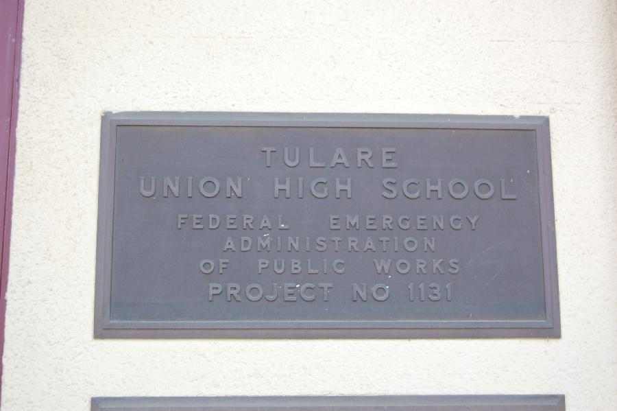 Tulare Union High School Plaque 1