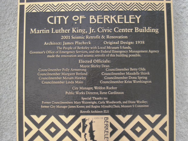 Martin Luther King Jr. Civic Center Plaque