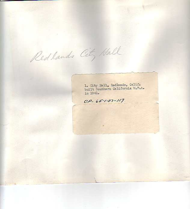 Old Redlands City Hall Verso