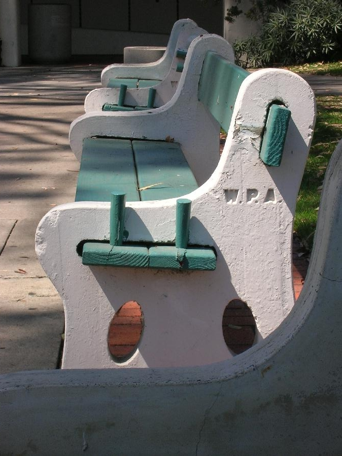 SDSU Park Benches with WPA Stamps