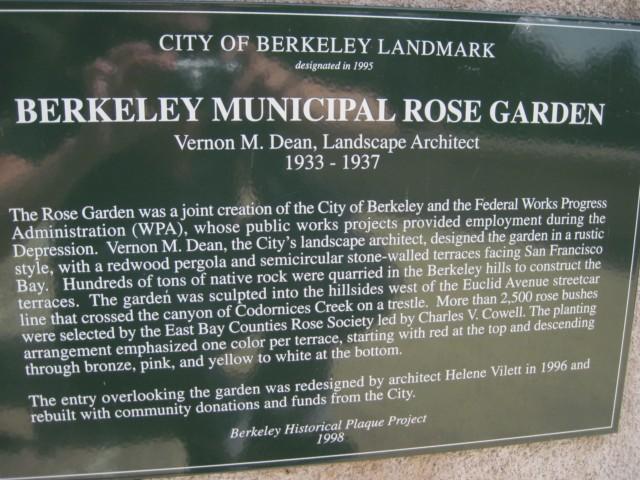 Berkeley Rose Garden City Landmark Sign